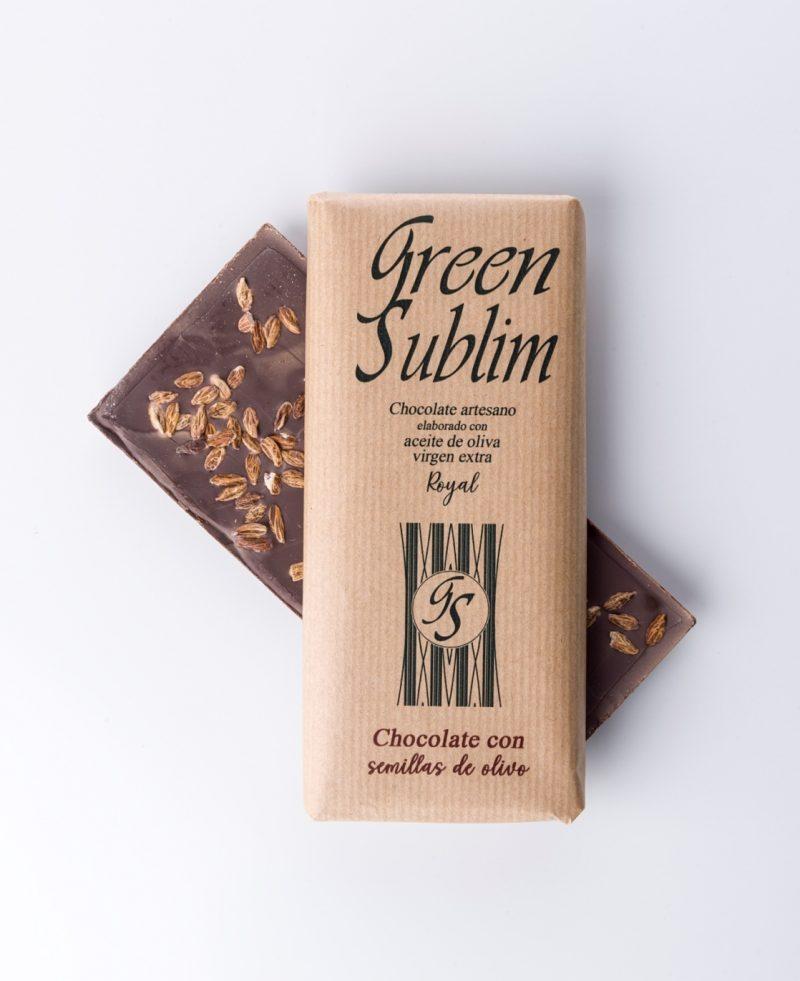 chocolate artesano con semillas de olivo y aove